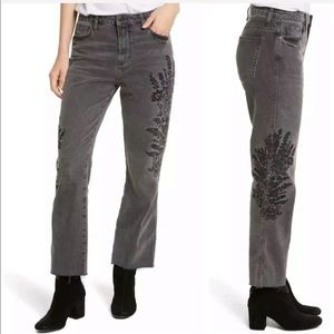 Free People Embroidered Distressed Crop Jeans